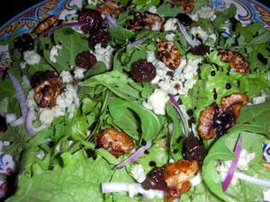 Salad with Tamari-Roasted Walnuts, Stilton and Dried Cherries