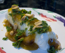 Goat Cheese Log with Mango Chutney, Peanuts and Cilantro